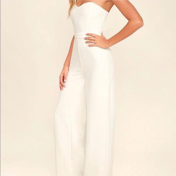 deadf13c1a3 Lulu s White Strapless Jumpsuit